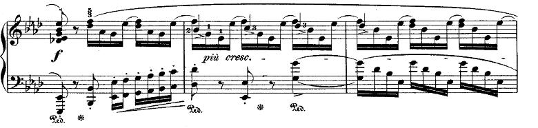ショパン「ポロネーズ第6番『英雄ポロネーズ』変イ長調Op.53」序奏の最後のピアノ楽譜