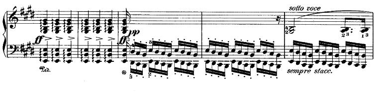 ショパン「ポロネーズ第6番『英雄ポロネーズ』変イ長調Op.53」中間部のピアノ楽譜