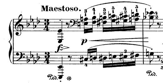 ショパン「ポロネーズ第6番『英雄ポロネーズ』変イ長調Op.53」序奏の4度音程のピアノ楽譜