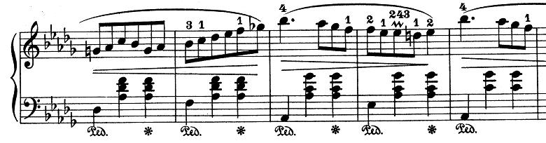 ショパン「ワルツ第6番『子犬のワルツ』変ニ長調Op.64-1」左手の説明部分のピアノ楽譜