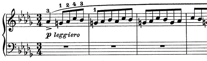 ショパン「ワルツ第6番『子犬のワルツ』変ニ長調Op.64-1」冒頭のトリルのないピアノ楽譜