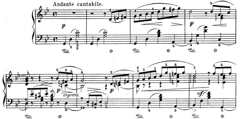 チャイコフスキー「四季6月『舟歌』ト短調」ピアノ楽譜1