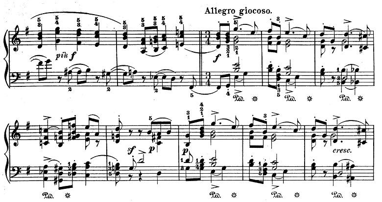 チャイコフスキー「四季6月『舟歌』ト短調」ピアノ楽譜3