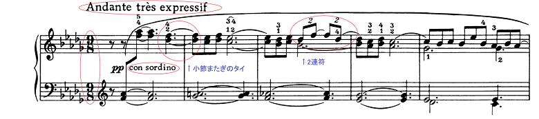 ドビュッシー「ベルガマスク組曲第3曲『月の光』変ニ長調L.75-3」ピアノ楽譜1