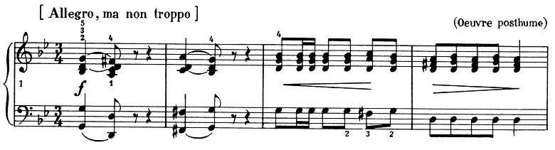 ショパン「ポロネーズ第11番ト短調(遺作)」最初の2小節のピアノ楽譜