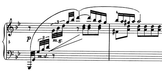 ショパン「ポロネーズ第11番ト短調(遺作)」5小節目からのピアノ楽譜