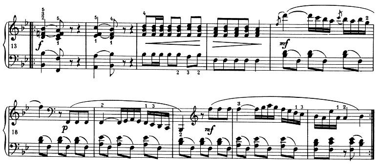 ショパン「ポロネーズ第11番ト短調(遺作)」17小節目からのピアノ楽譜