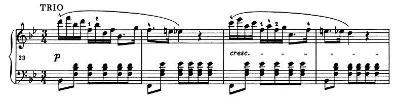 ショパン「ポロネーズ第11番ト短調(遺作)」23小節目からのピアノ楽譜