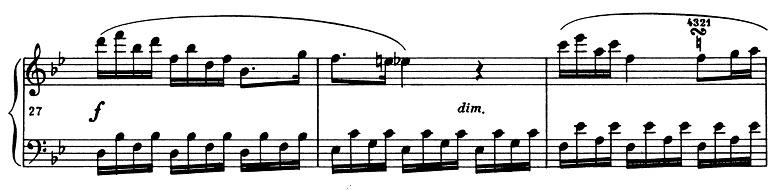 ショパン「ポロネーズ第11番ト短調(遺作)」27小節目からのピアノ楽譜