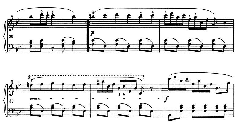 ショパン「ポロネーズ第11番ト短調(遺作)」31小節目からのピアノ楽譜