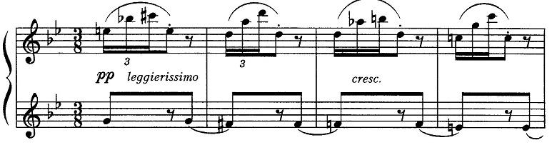 ブルグミュラー「18の練習曲第15番「風の精」ト短調Op.109-15」ピアノ楽譜1