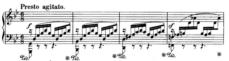 メンデルスゾーン「無言歌集第4巻第3曲「プレストアジタート(胸騒ぎ)」ト短調Op.53-3」ピアノ楽譜1