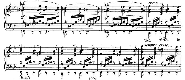 メンデルスゾーン「無言歌集第4巻第3曲「プレストアジタート(胸騒ぎ)」ト短調Op.53-3」ピアノ楽譜3