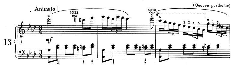 ショパン「ポロネーズ 第13番変イ長調(遺作)」最初のピアノ楽譜