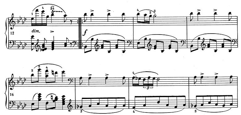 ショパン「ポロネーズ 第13番変イ長調(遺作)」12小節目からのピアノ楽譜