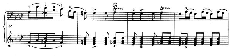ショパン「ポロネーズ 第13番変イ長調(遺作)」20小節目からのピアノ楽譜