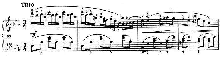 ショパン「ポロネーズ 第13番変イ長調(遺作)」トリオパートのピアノ楽譜