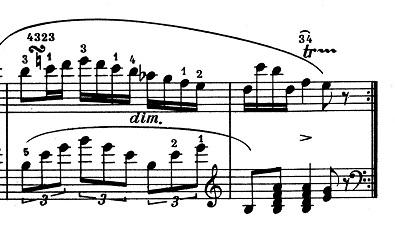 ショパン「ポロネーズ 第13番変イ長調(遺作)」45小節目「ターン」部分からのピアノ楽譜