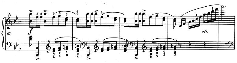 ショパン「ポロネーズ 第13番変イ長調(遺作)」47小節目からのポロネーズリズムのピアノ楽譜