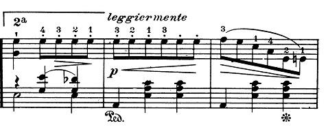 ショパン「ワルツ第1番『華麗なる大円舞曲』変ホ長調Op.18」21小節目からのピアノ楽譜