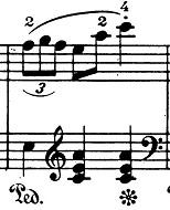 ショパン「ワルツ第1番『華麗なる大円舞曲』変ホ長調Op.18」27小節目のピアノ楽譜