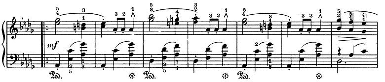ショパン「ワルツ第1番『華麗なる大円舞曲』変ホ長調Op.18」70小節目からのピアノ楽譜