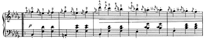 ショパン「ワルツ第1番『華麗なる大円舞曲』変ホ長調Op.18」136小節目からのピアノ楽譜
