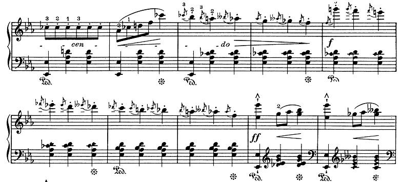 ショパン「ワルツ第1番『華麗なる大円舞曲』変ホ長調Op.18」263小節目のフォルテッシモ部分のピアノ楽譜