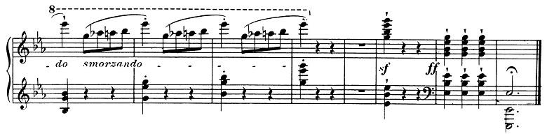 ショパン「ワルツ第1番『華麗なる大円舞曲』変ホ長調Op.18」最後の部分のピアノ楽譜