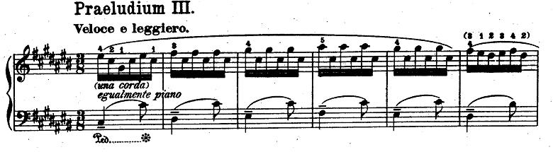 バッハ「平均律クラヴィーア曲集第1巻第3番嬰ハ長調BWV848」ピアノ楽譜1