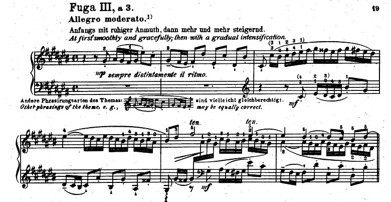 バッハ「平均律クラヴィーア曲集第1巻第3番嬰ハ長調BWV848」ピアノ楽譜4