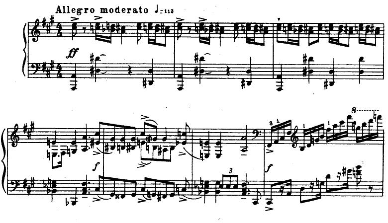 プロコフィエフ「ピアノソナタ第6番「戦争ソナタ」イ長調Op.82第1楽章」ピアノ楽譜1