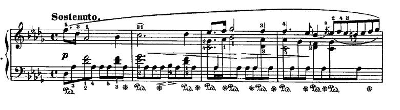 ショパン「24の前奏曲第15番『雨だれの前奏曲』変ニ長調Op.28-15」冒頭のピアノ楽譜
