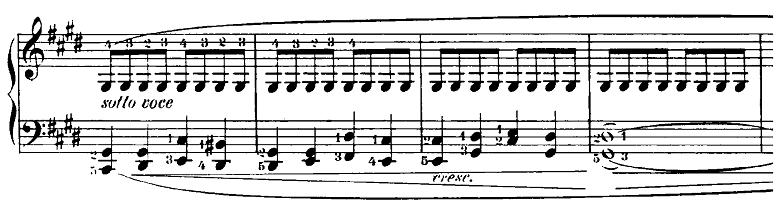 ショパン「24の前奏曲第15番『雨だれの前奏曲』変ニ長調Op.28-15」厳かな雰囲気の部分のピアノ楽譜