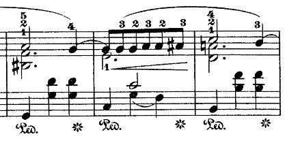 ショパン「ワルツ第7番嬰ハ短調Op.64-2」主旋律を際立たせる部分のピアノ楽譜