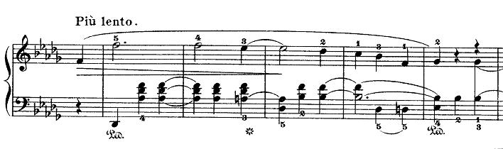 ショパン「ワルツ第7番嬰ハ短調Op.64-2」変ニ長調に変わった部分のピアノ楽譜