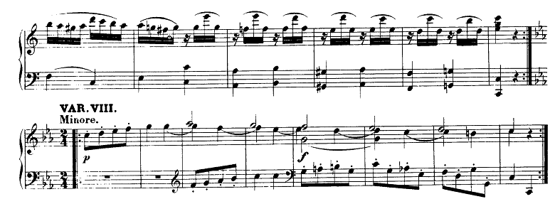 モーツァルト「「きらきら星変奏曲」ハ長調K.265」ピアノ楽譜2