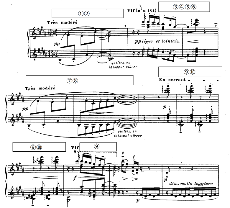 ドビュッシー「前奏曲集第1巻第5曲『アナカプリの丘』ロ長調L.117-5」ピアノ楽譜1