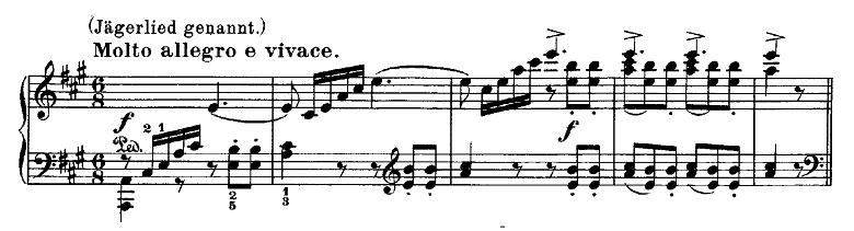 メンデルスゾーン「無言歌集第1巻第3曲「狩の歌」イ長調Op.19-3」ピアノ楽譜1