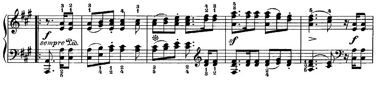メンデルスゾーン「無言歌集第1巻第3曲「狩の歌」イ長調Op.19-3」ピアノ楽譜2