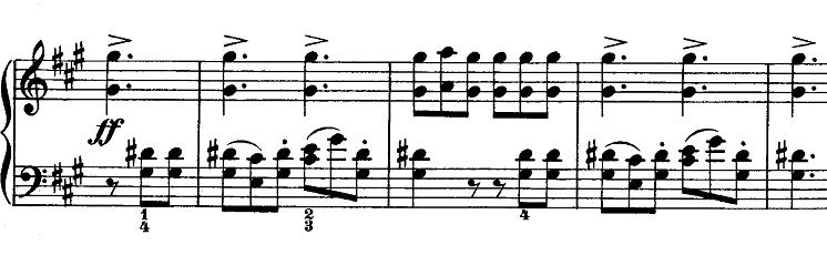 メンデルスゾーン「無言歌集第1巻第3曲「狩の歌」イ長調Op.19-3」ピアノ楽譜4