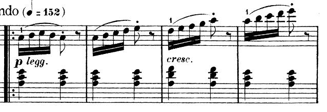 ブルグミュラー「25の練習曲第2番「アラベスク」イ短調Op.100-2」ピアノ楽譜2