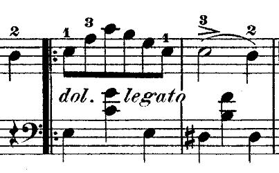 ショパン『ワルツ第14番ホ短調遺作』ドルチェの部分のピアノ楽譜