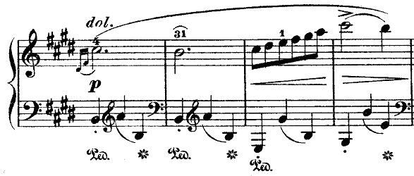 ショパン『ワルツ第14番ホ短調遺作』ホ短調からホ長調に変化する部分のピアノ楽譜
