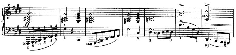 ショパン『ワルツ第14番ホ短調遺作』緊迫した雰囲気の部分のピアノ楽譜