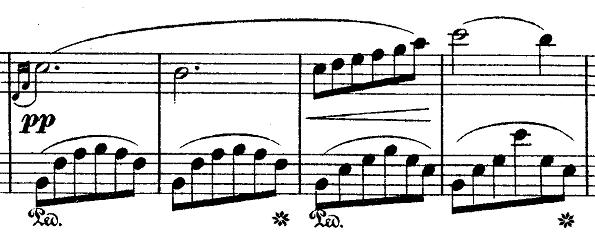 ショパン『ワルツ第14番ホ短調遺作』アルペジオ部分のピアノ楽譜