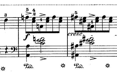 ショパン『ワルツ第14番ホ短調遺作』アクセント部分のピアノ楽譜