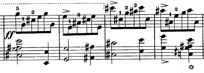 ショパン『ワルツ第14番ホ短調遺作』迫力ある場面のピアノ楽譜