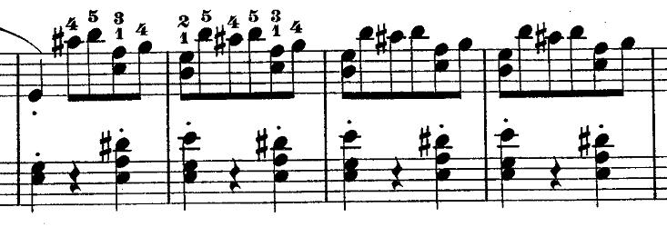 ショパン『ワルツ第14番ホ短調遺作』アクセントを意識する部分のピアノ楽譜