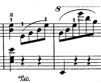 ショパン『ワルツ第14番ホ短調遺作』右手にアルペジオがある部分のピアノ楽譜